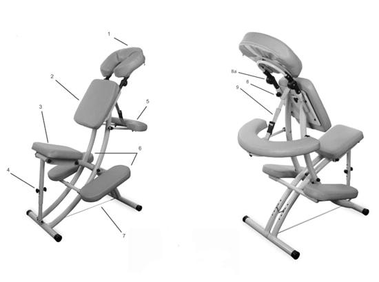 Krzesło do masażu - opis poszczególnych elementów (rysunek techniczny)