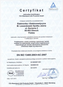 Certyfikat - aparat do elektroterapii Interdynamic ID-4C